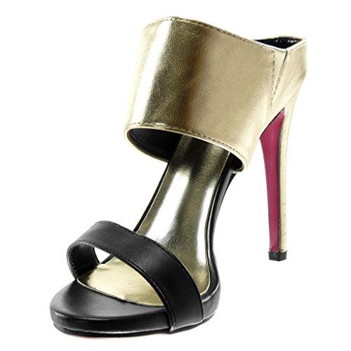 Mule Angkorly Chaussure Lanière 5 Bicolore Talon Aiguille 12 Mode Slip Or Femme cm Escarpin on Stiletto Haut RwEwrT4q