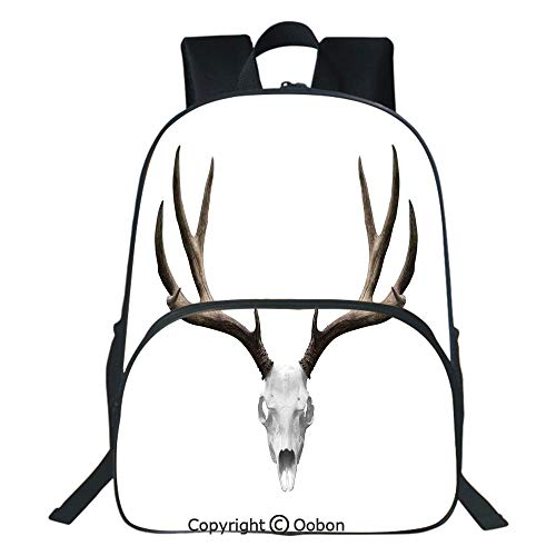 Oobon Kids Toddler School Waterproof 3D Cartoon Backpack, A Deer Skull Skeleton Head Bone Halloween Weathered Hunter Collection Decorative, Fits 14 Inch Laptop