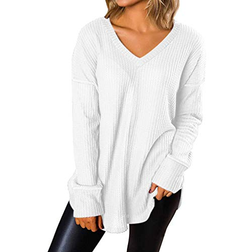 Spring Color  Women's Casual V Neck Striped Long Sleeve Waffle Knit Loose Tops Blouse Shirt White -