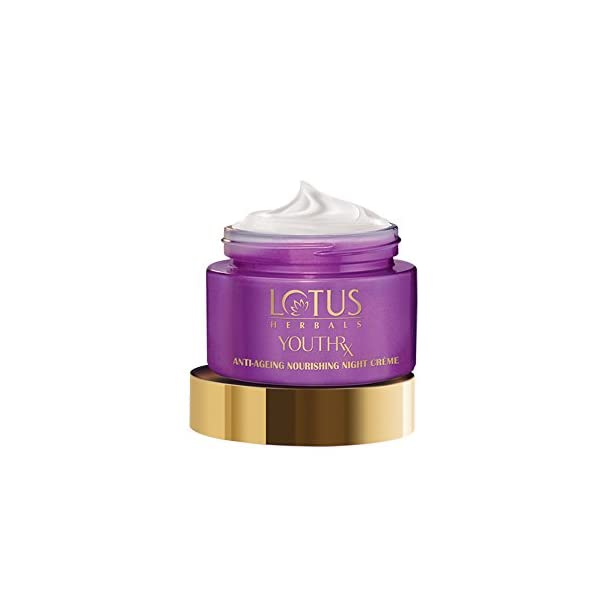 Lotus Herbals YouthRx Anti Ageing Nourishing Night Cream for women, 50g 2021 July Quantity: 50g; Item Form: Cream A natural anti-wrinkle night crème that reduces fine lines and wrinkles to reveal beautiful, younger looking skin every morning; A nourishing anti-aging night crème which hydrates skin and removes dry patches Firms and tightens skin overnight, to leave soft, radiant, young skin every morning