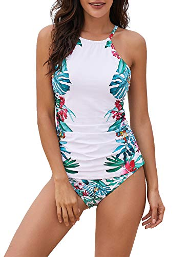 - EVALESS Womens Sexy Floral Print Bandeau Beach Wear 2pcs Adjustable Straps Tankini with Briefs Swimsuit X-Large White