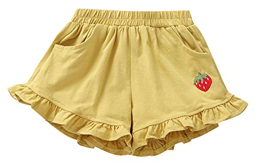 La Vogue Toddler Girls Cotton Ruffle Shorts Elastic Waist Pull On Short Pants Casual Summer Playwear Shorts Yellow