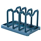 Fan-Ling 1PCS Kitchen Multi-Function Two-in-one Home Creative Knives Dish Rack,Kitchen Utensil Holder,Pot Lid Shelf, Pan Lid Holder for Pots and Pans,Kitchen Gadgets (Dark Blue)