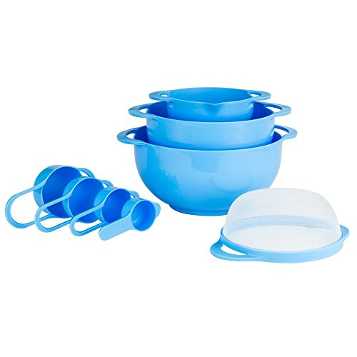 Plastic Dishwasher Colander Safe (Set of 8 Compact Nesting Mixing Bowl Set Measuring Tools Sieve Colander Food Prep Plastic Dishwasher Safe Non-Slip, 8-Piece, By Intriom (Blue))