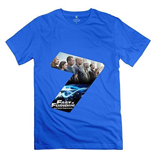 PTCY Men's Customize T-shirt Fashion Furious 7 XS RoyalBlue