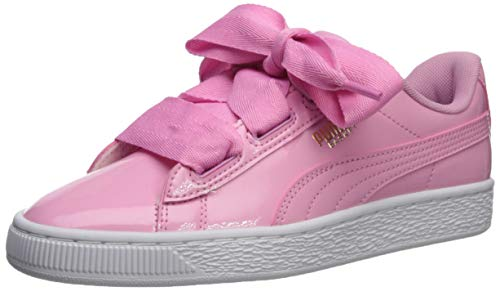 (PUMA Girls' Basket Heart Patent Sneaker, Prism Pink-Peacoat-Gold White, 4 M US Big Kid)