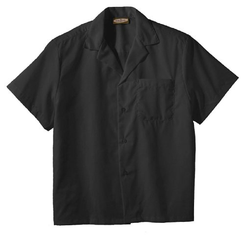 plin Camp Shirt, BLACK, XLarge (Easy Care Camp Shirt)