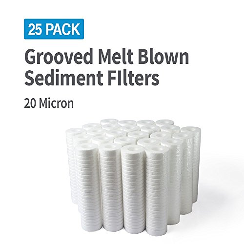 PWP Grooved Compatible Sediment Water Filter Replacement Cartridge REVERSE OSMOSIS 10x2.5in 20 Mic 25 Pack