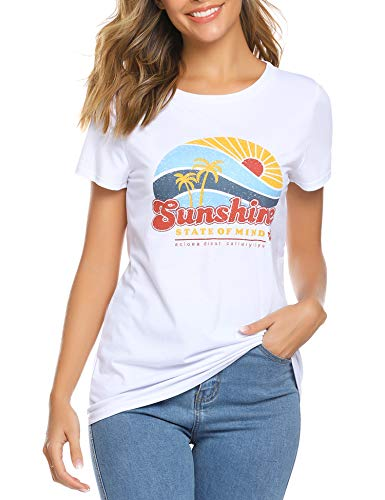 (Women Mama Bear Shirt, You are My Sunshine T-Shirt Letter Printed Tees Summer Short Sleeve Tops Graphic Blouses White)