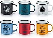 E-far Enamel Camping Mug Set of 6, 16 Ounce Metal Enamel Coffee Tea Cups Mugs for Camping Hiking Backpacking,
