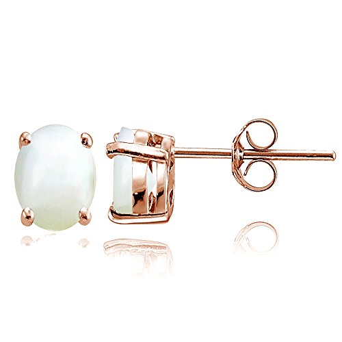 Rose Gold Flashed Sterling Silver Simulated Mother of Pearl 8x6mm Oval Solitaire Stud (Mother Of Pearl Rose Earrings)