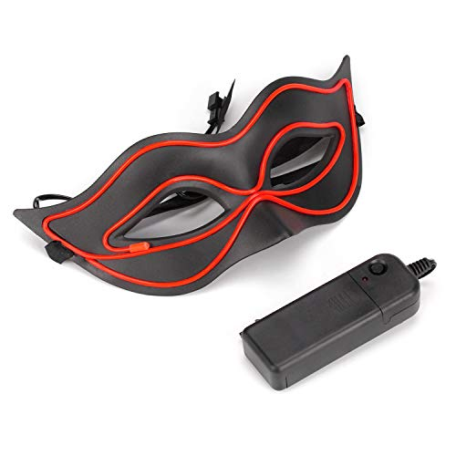 (LED Mask Light up Neon Lights Wire Masks for Masquerade Halloween Mardi Gras Party, Evening Prom Ball Venetian Fashion Masks (Red))