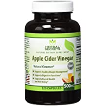 Herbal Secrets Apple Cider Vinegar 500mg 120 CapsulesSupports Healthy Weight ManagementSupports Digestive FunctionsSupports Overall Health & Well-being