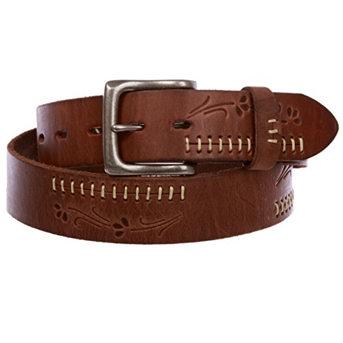 Snap On Floral Embossed Stitching Full Grain Leather Belt, Brown | 34