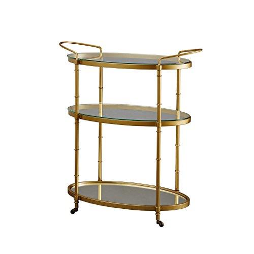 Madison Park MPS135-0049 Lauren Bar Cart - Metal Base, Antiqued Mirror Serving Shelf on Wheels Modern Classic Wine Stand with Casters, Beverage Station, Medium, Gold (Antique Cart Rolling)