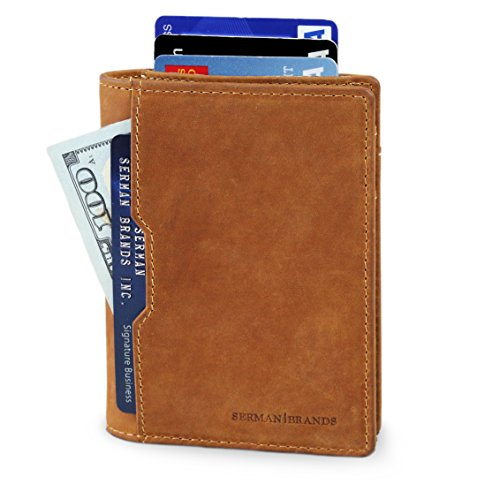 Travel+Wallet+RFID+Blocking+Bifold+Slim+Genuine+Leather+Thin+Minimalist+Front+Pocket+Wallets+for+Men+Billfold+-+Made+From+Full+Grain+Leather+%28California+Desert+5.0%29
