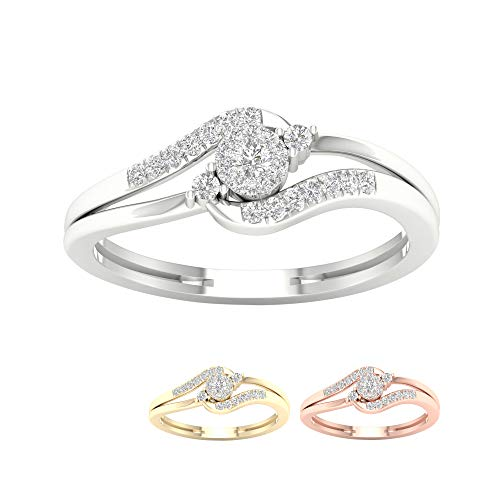 (IGI Certified 10k White Gold 1/8ct TDW Diamond Promise Fashion Ring for women (I-J, I2).)