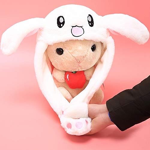 (GOOGEE Rabbit Hat - Rabbit Moving Ear Hat Plush Toy Rabbit Hat for Gift - Milky White - Girls Knit Korea Real Newborn Trick Bunny Move Magic White Fur Fluffy)
