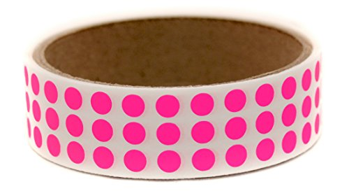 """Neon Pink, 1/4"""" Color Coding Dot Labels w/ Permanent Adhesive 