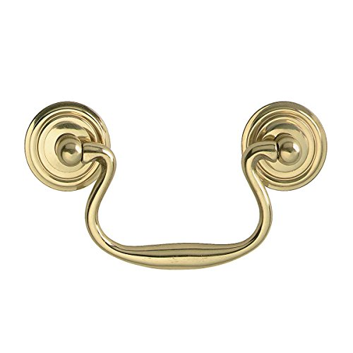 (Bright Solid Brass Classic Bail Pull Ring Rosettes 3