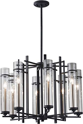 "Feiss F2628/8AF/BS Ethan Glass Candle Chandelier Lighting, Iron, 8-Light (26""Dia x 19""H) 480watts from Feiss"