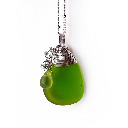 Green Cultured Sea Glass Drop Pendant - Green & Silver, Stainless Steel Handmade Wire Wrapped Sea Glass Pendant Necklace w Drop Dangle, Sea Glass Jewelry - Valentines Day Gift, Gift for Her Drop Glass Pendant