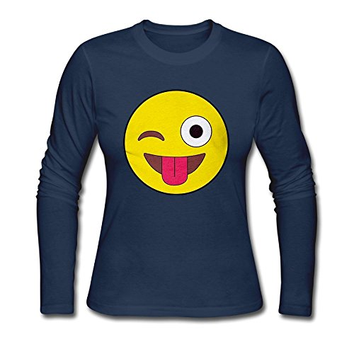 Qear Smiley Emoji Women's Long-Sleeved Round Neck T-Shirts Navy L
