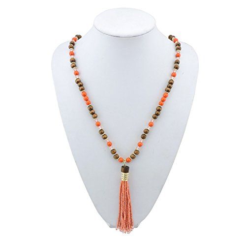 BOCAR Newest Long Gold Chain Wood Beads Necklace with Cluster Seed Beads Tassel Pendant (295) (Cluster Wood)