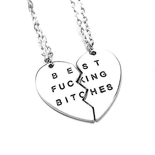 [Ximei Best Friend Forever BFF Best Bitches Split Puzzle Heart Pendant Couple Necklace (Silver Tone & 2] (Cute Unique Costumes)