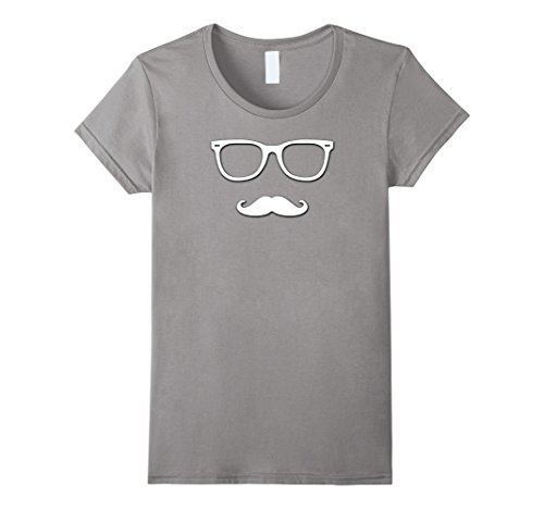 Womens Fake Moustache and Glasses Disguise T Shirt Cool Design XL Slate (Quality Fake Moustache)