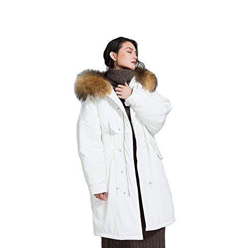 FARCOKO 2017 New Arrival Winter Thicker Long Fur Collar 90% White Duck Down Women's Fashion Down Jacket (White, One (90% White Duck)