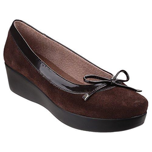 Riva Womens / Ladies Mid Heel Slip On Bow Shoes Marrone