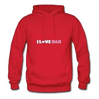 Women I Love Dad Custom Speacial Cotton Red Hoodies X-large