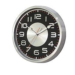 SMC 11.5-inch Silent Non-ticking Wall Clock- Round Metal Wall Clock, Black