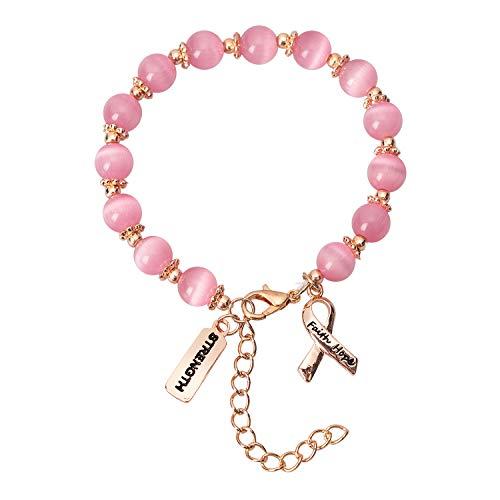 2Ct Breast Cancer Awareness Bracelet - Pink Ribbon Faith Hope Courage Strength Survivor Gift