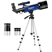 Emarth Telescope, Travel Scope, 70mm Astronomical Refracter Telescope with Tripod & Finder Scope, Portable Telescope for Kids Beginners (Blue)