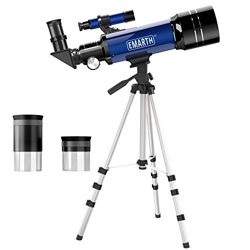 Emarth Telescope, Travel Scope, 70mm Astronomical Refracter Telescope with Tripod & Finder Scope, Portable Telescope for Kids Beginners (Blue) (30 Pad Cushion 40 X)