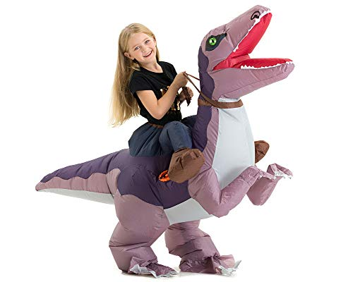 Hsctek Inflatable Velociraptor Costume Kids, Halloween Inflatable Dinosaur Costume for Kids, Blow Up Dinosaur Costume for Girls Boys