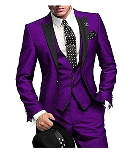 One Button 3 Pieces Purple Wedding Suits Notch
