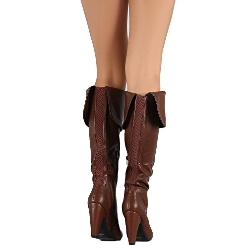 Bamboo Womens Cuff Elastic Gore Chunky Heeled Knee High Boots Cognac B7lvT7