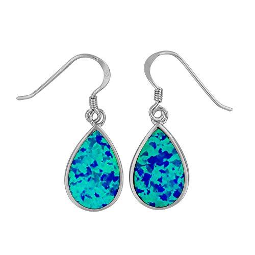 Sterling Silver Synthetic Blue Opal Teardrop Dangle Earrings