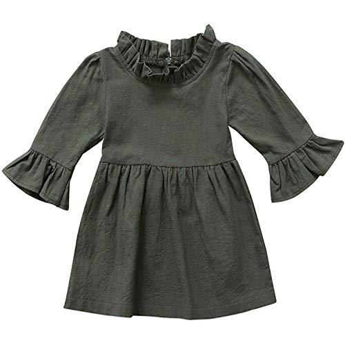 GObabyGO Fall & Winter Baby Girls Dark Natural Olive Linen Ruffled Pullover Dress (Green, 110(3-4 Years) -