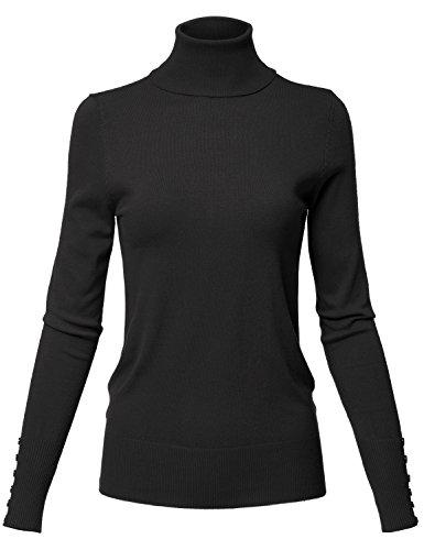 Rib Knit Turtle Neck Long Sleeve Sharkbite Uneven Hem Tops,130-black,US XL