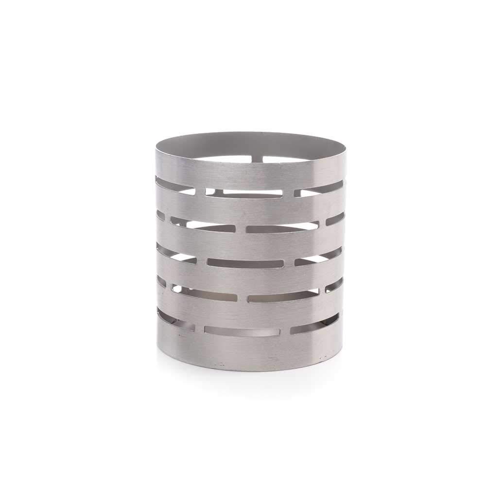 IMPULSE! Oslo Stainless steel Geometric design pattern- Round Caddy: 3'' D x 3.1'' H
