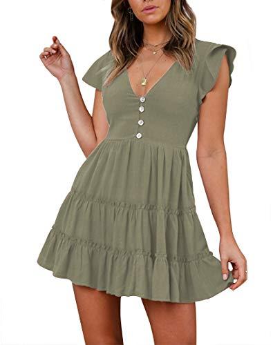 YIBOCK Women's Summer Short Sleeve V Neck Button Ruffle Swing Mini Dress Army Green