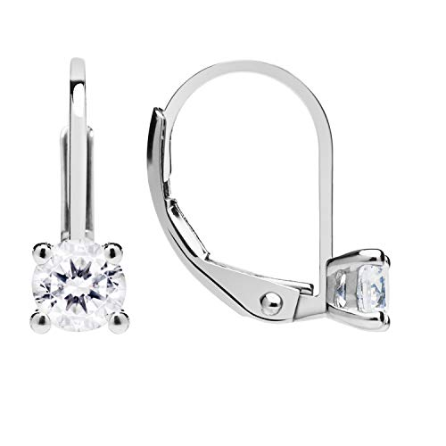 14K Solid White Gold Earrings | Round Cut Cubic Zirconia | Leverback Drop Dangle Basket Setting | .50 CTW | With Gift Box ()