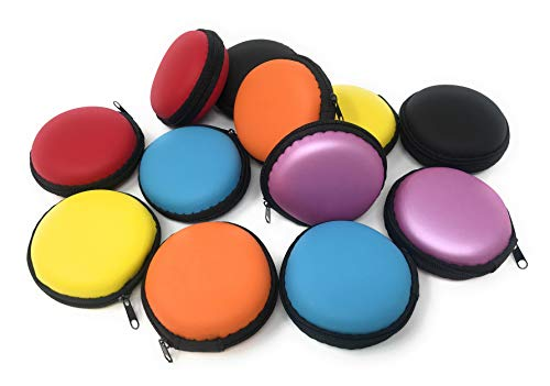 Bulk 12 Pack Foam Protective Earphone Cases or Coin Purses - Zip Closure in 5 Awesome Colors
