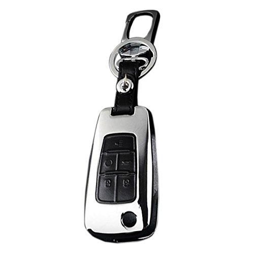Keyless Entry Remote Case Leather Key Fob Cover Zinc Alloy Key Holder Shell Covers For Chevrolet Camaro Cruze Malibu Sonic Volt Spark 5 Button Color Black ()