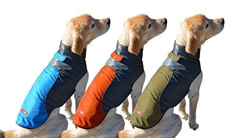 Peak Pooch Cold Weather Dog Jacket, Lightweight, Wind Resistant, Waterproof Rip Stop Nylon, Warm Rain Coat w/Leash Opening (Orange, Medium)