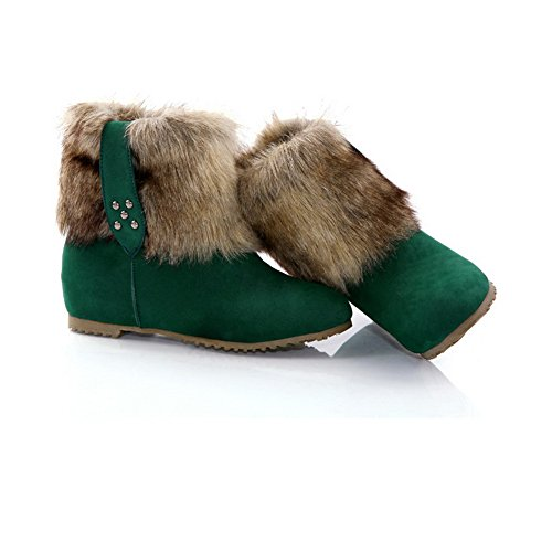 AmoonyFashion Womens Closed Round Toe Low Heels Frosted Short Plush Solid Boots with Heighten Inside Green AlvGjTo